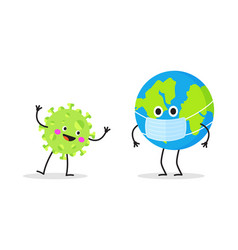 cartoon character earth wearing protective mask vector image