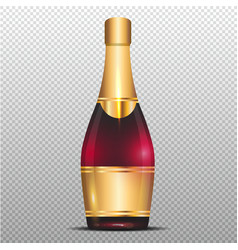 champagne with gold ribbon on transparent vector image