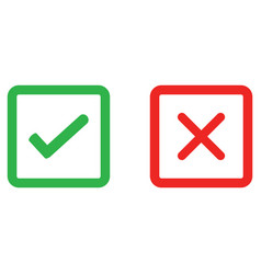 check mark and wrong mark line icon vector image