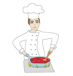 Chef cooks vector