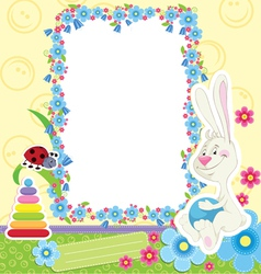 Children frame with rabbit vector