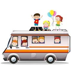 Children riding on camper van vector
