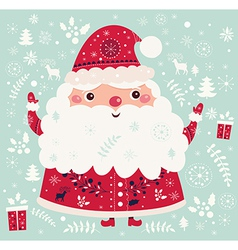 christmas with santa claus and festive pattern vector image