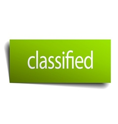 Classified green paper sign on white background vector