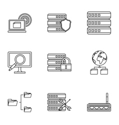 Computer icons set outline style vector