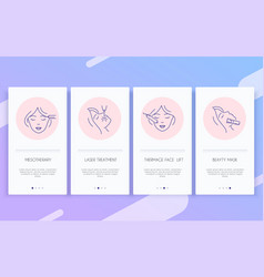 Cosmetology line icons set cosmetic surgery vector