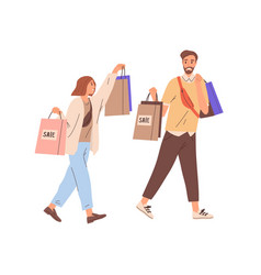 couple happy modern man and woman walking vector image