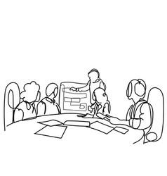 Creative business team brainstorming at seminar vector