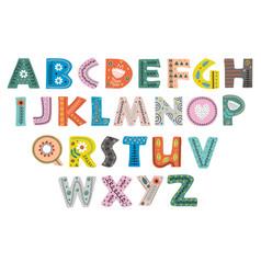 decorative alphabet in scandinavian color vector image