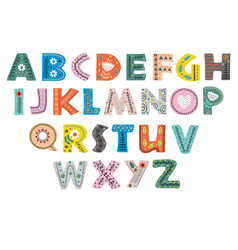 decorative alphabet in scandinavian style color vector image