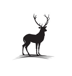 deer silhouette wild animal reindeer drawn logo vector image