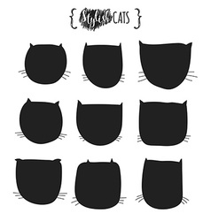 Doodle silhouettes of cats Muzzle cat vector