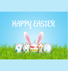 easter background with eggs in grass and bunny vector image