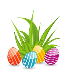 Easter background with traditional colorful eggs vector image