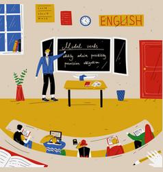 English lesson teacher near blackboard vector