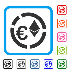 Euro ethereum diagram framed icon vector