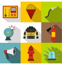 Fiery profession icons set flat style vector image