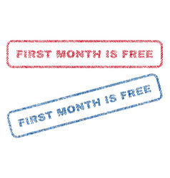 First month is free textile stamps vector
