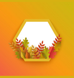 flat autumn leaves pumpkin frame vector image