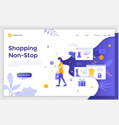 flat landing page template vector image