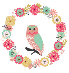 floral frame with an owl vector image