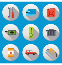 Fuel pump gas station icons vector