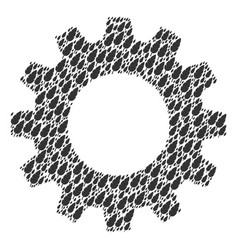 gear wheel composition of feather icons vector image