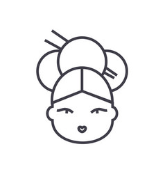 geisha line icon sign on vector image