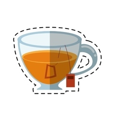 Glass cup tea fresh-cut line vector