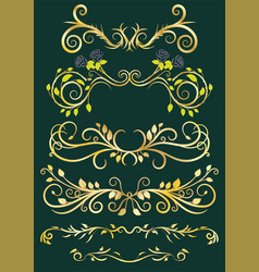 gold antique floral borders vector image