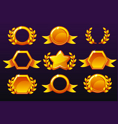 Gold templates for awards creating icons vector