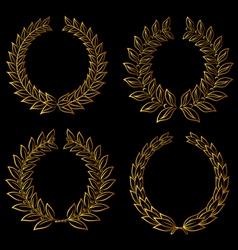 Golden laurels set vector