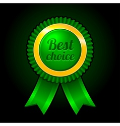 Green label Best choice with ribbons vector image