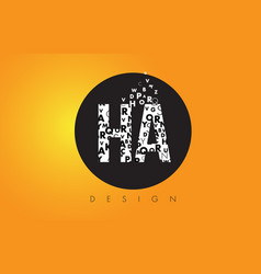 Ha h a logo made of small letters with black vector