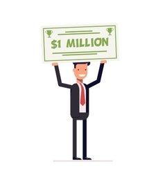 Happy businessman or manager holding large check vector image
