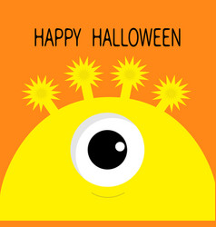 Happy halloween card monster head silhouette with vector