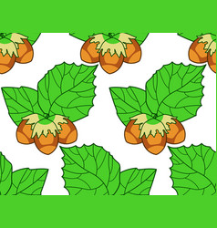 Hazel leaf and nuts pattern vector