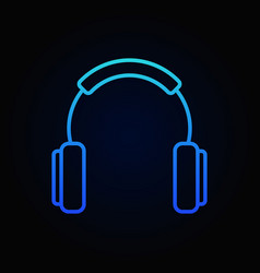 Headphones outline blue icon or design vector