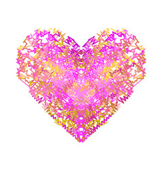 heart of pink and yellow wavy lines valentines vector image