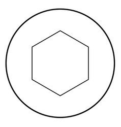 Hexagon icon black color simple image vector