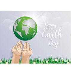 holding planet earth in hands against green vector image