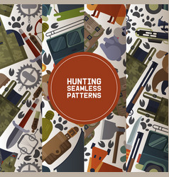hunting equipment set seamless patterns vector image