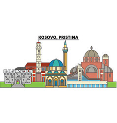 Kosovo pristina city skyline architecture vector