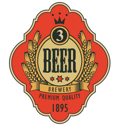 label for beer with coat of arms in curly frame vector image