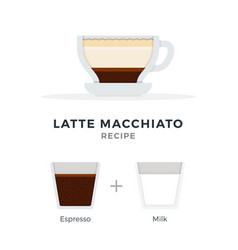 latte macchiato coffee recipe flat isolated vector image
