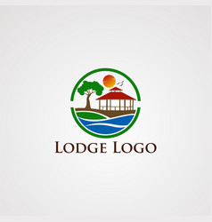 lodge logo with circle wave beautiful sun flying vector image