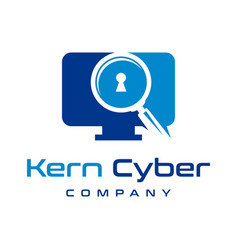 logo design key for computer data search vector image