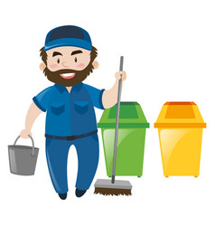 Male janitor with broom and bucket vector