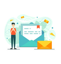 Man mail phone chat workflow a new e-mail vector