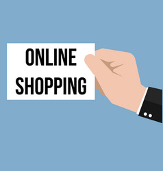 man showing paper online shopping text vector image